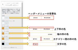 ヘッダーメニューのカラー設定方法の図説(手順4)